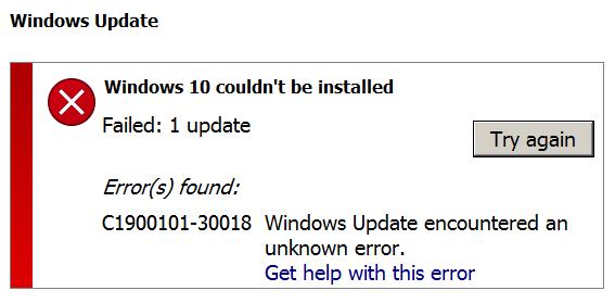 windows 10 installation error c1900101