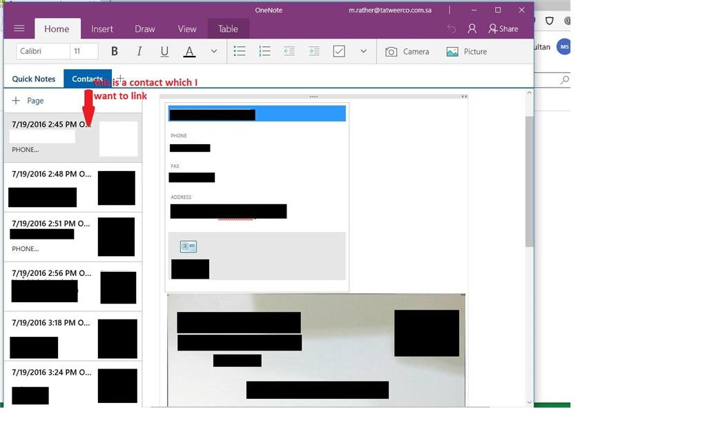Is there a way to link onenote contacts to excel cells as a bookmark using office lens by microsoft and synced from android device to onenote app on my windows 10 machine now i want to link to excel cells scanned colourmoves