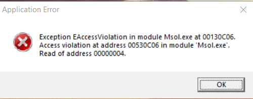 access violation at address 007f0148 and exception