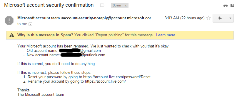 microsoft account team password reset email