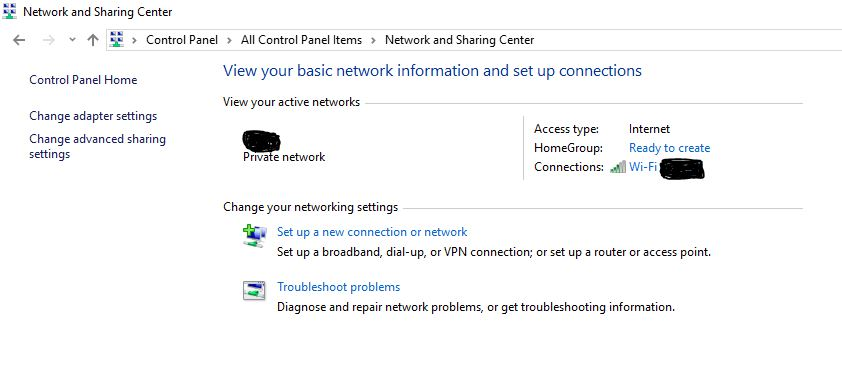 change my network to private
