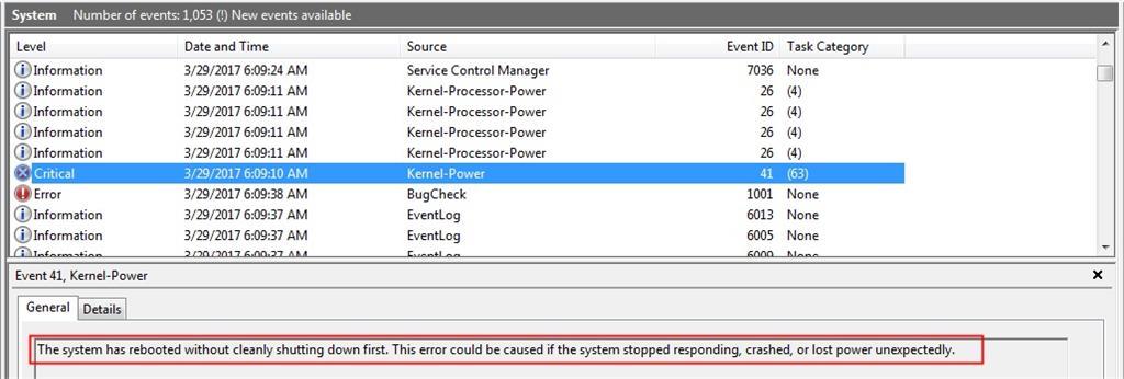 Kernel-Power, Event ID 41, Task Category: (63) - Microsoft Community