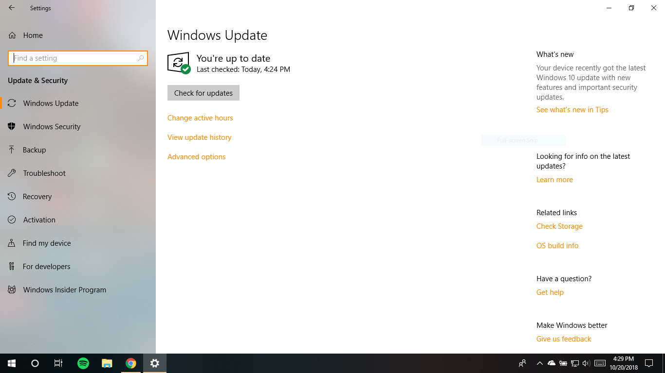 Can't update to windows 10 October Update (1809) - Microsoft