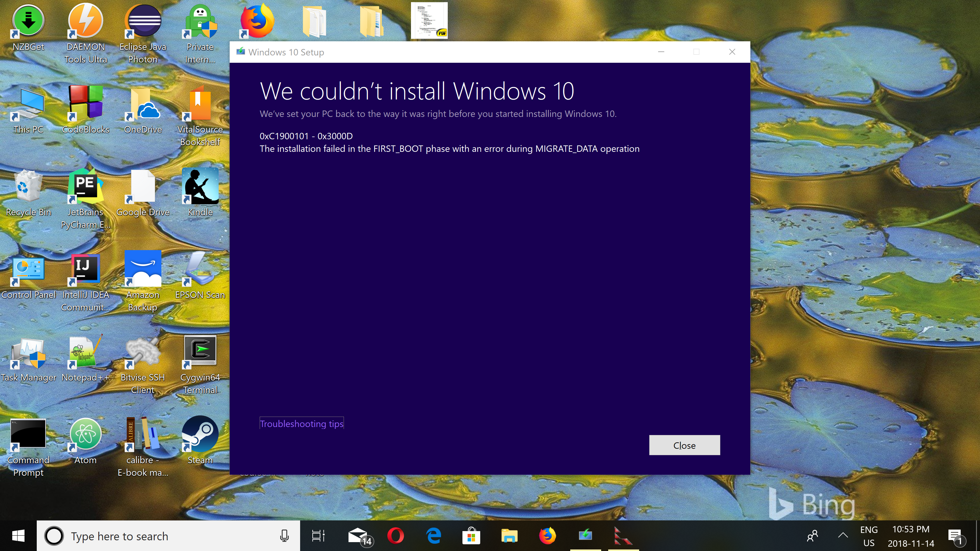 Blue Screen during installation of 1809 or after installing