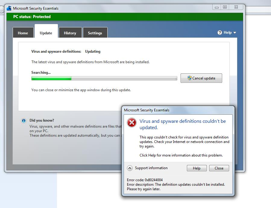 windows 7 update issue and microsoft security essentials
