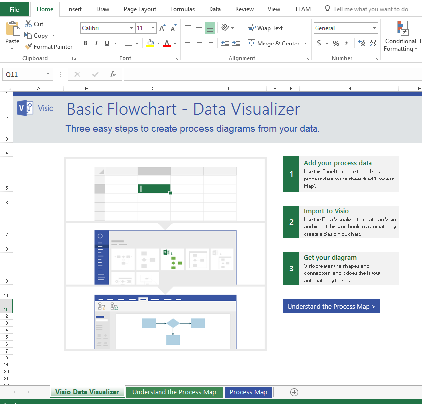 Insiders data visualizer for process diagrams in visio pro for 4 enter your process steps in the excel and save the file the excel file has help content and snapshots of sample data to get you started ccuart Images