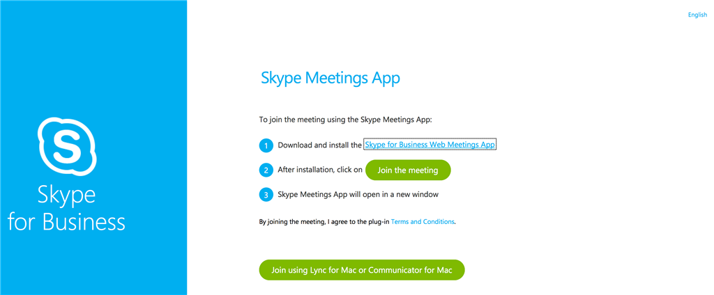 MS Lync/Skype for Business webpage meeting not loading