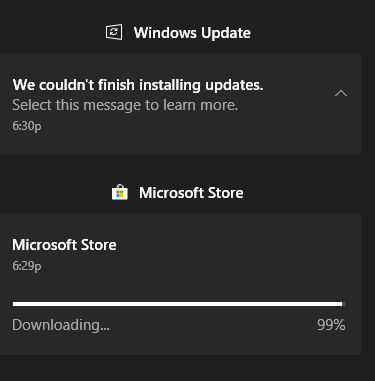 Microsoft Store couldn't install! We'll retry shortly