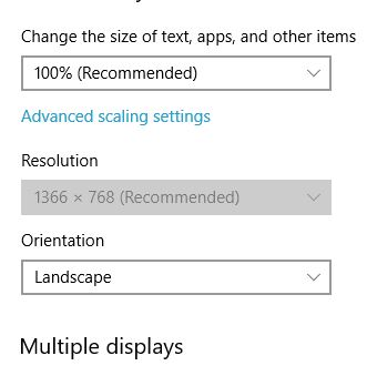 Resolution setting is grayed out in Display Settings
