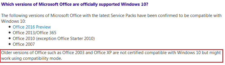 Upgrade from windows 7 to 10 stopped Excel 2003 reading