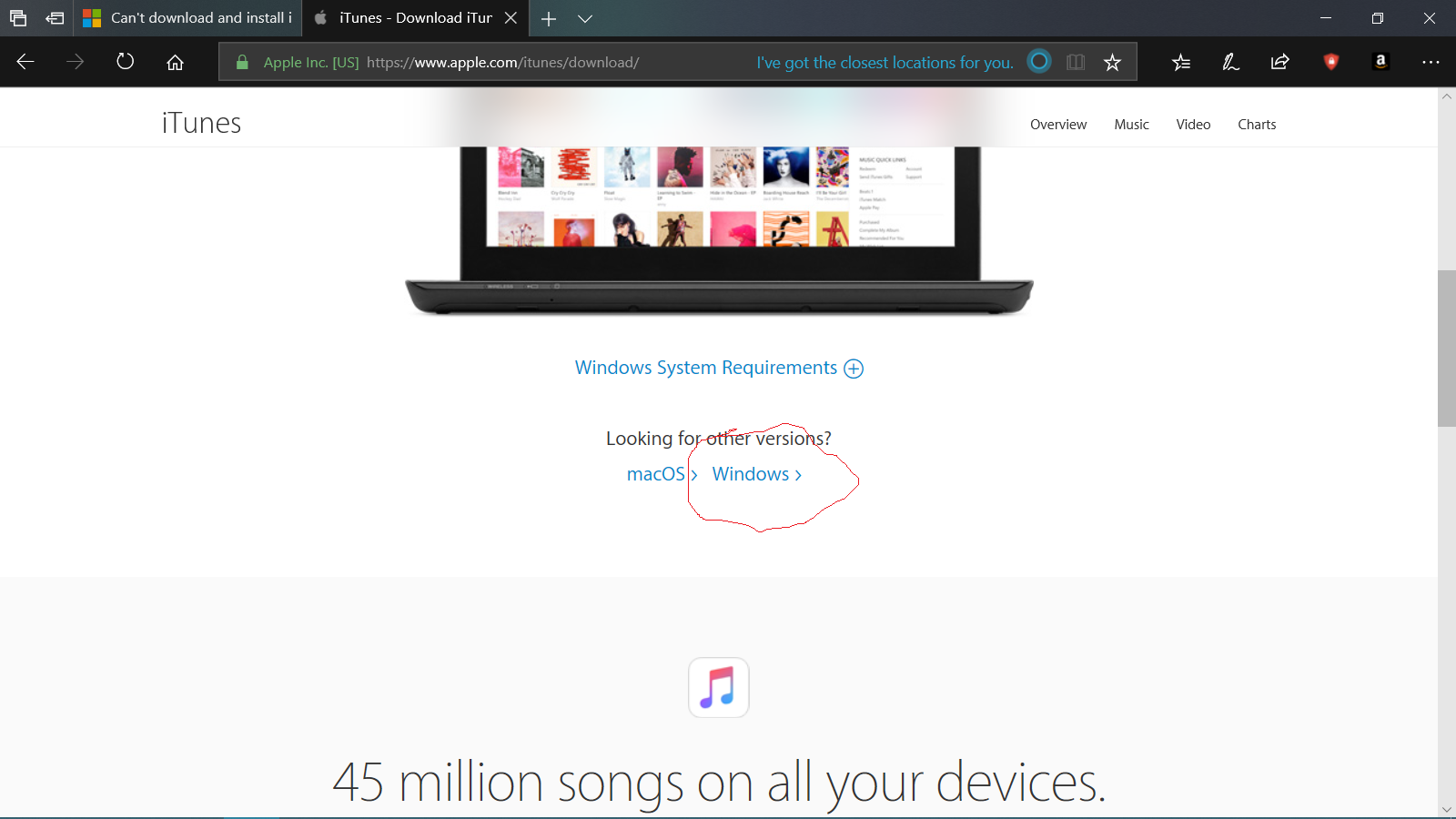 problems downloading itunes to windows 10