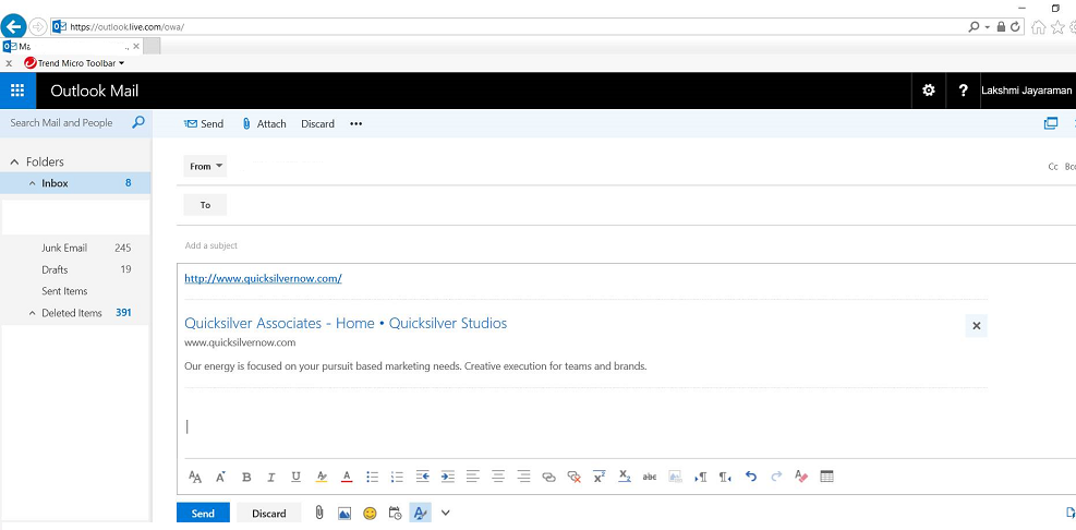 Outlook/OWA Link Preview displays our old website information