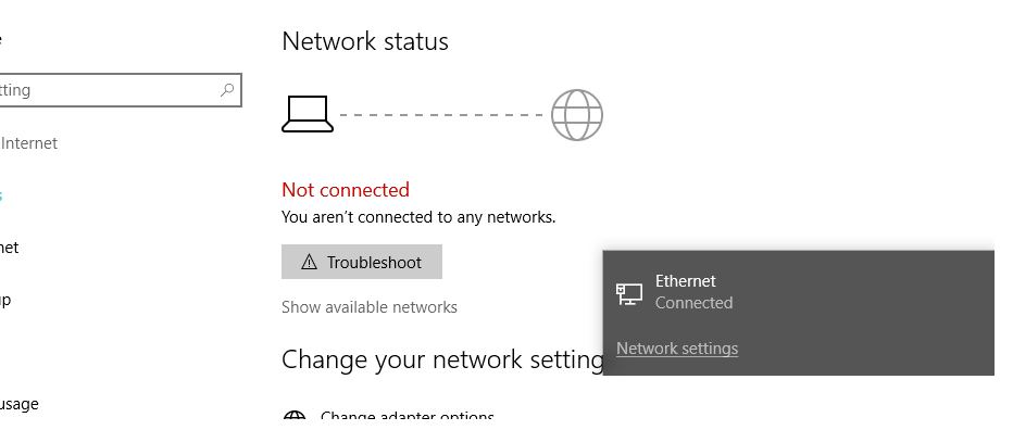 Ethernet connected and working but Network Status says not