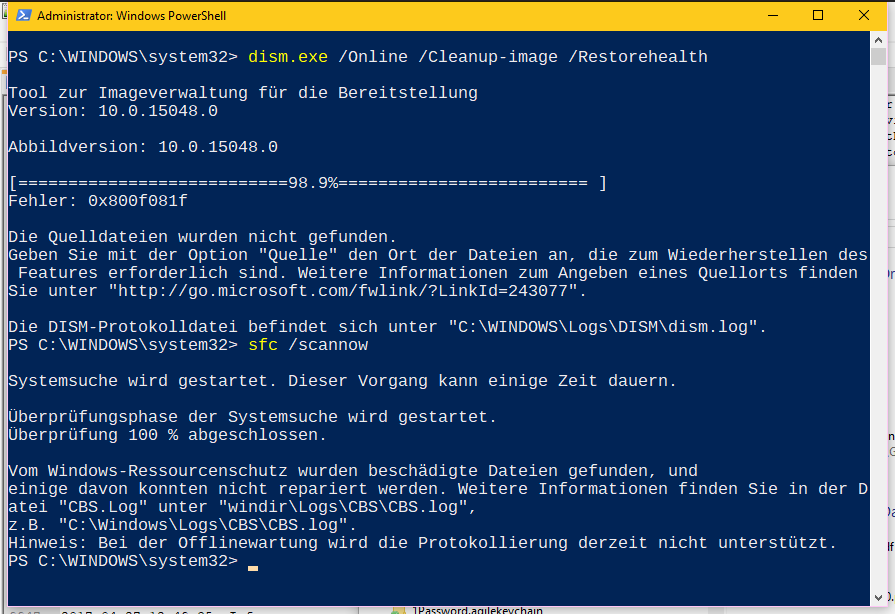 Windows Update blockiert, weil es denkt, es läuft noch ein Update (tut es nicht)