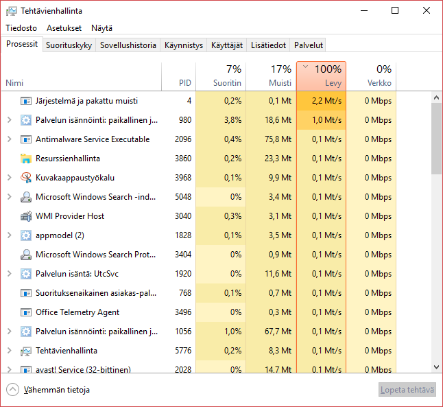 avast disk usage