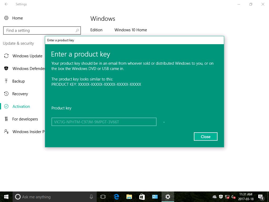 windows 10 home to pro key free