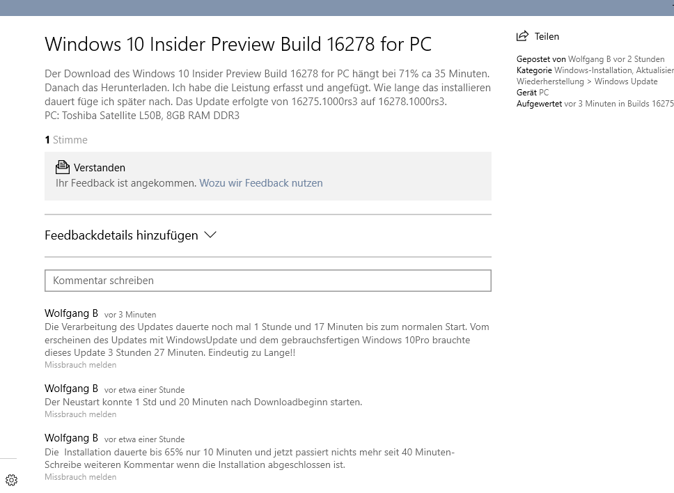 Windows 10 Insider Preview Build 16278 for PC
