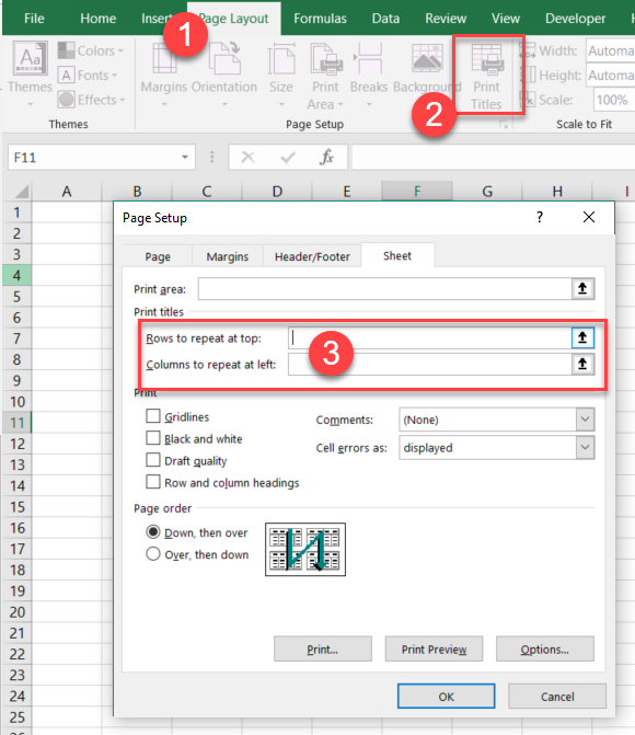 "Excel 2016 In Windows10. Can't Use ""rows To Repeat At Top"