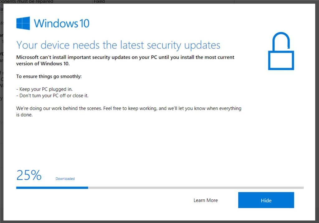 Windows 10 update to version 16299 - Fails to restart to