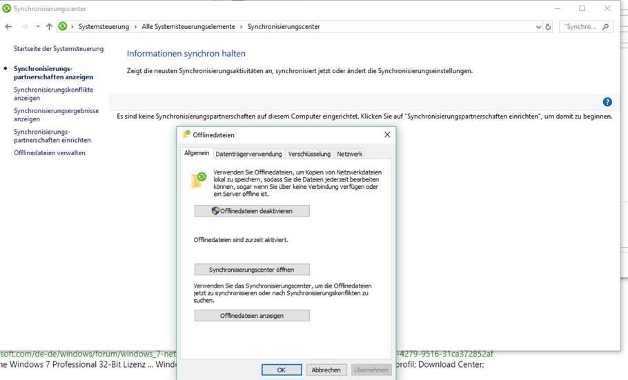 """""""Dateien offline verfügbar machen"""" nicht im Kontextmenü - Windows 10 Pro"""