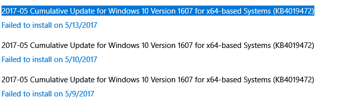 2017-05 Cumulative Update for Windows 10 Version 1607 for x64-based