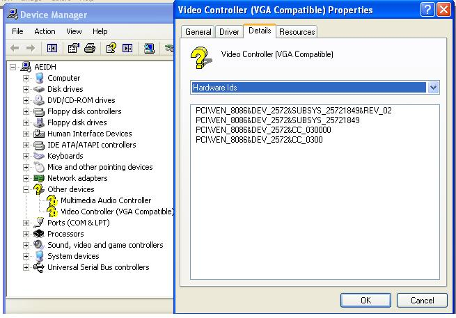 controleur video compatible vga xp sp3
