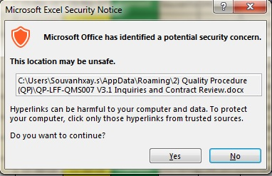 I can't Open Files on My HyperLink in MS Excel 2007  There