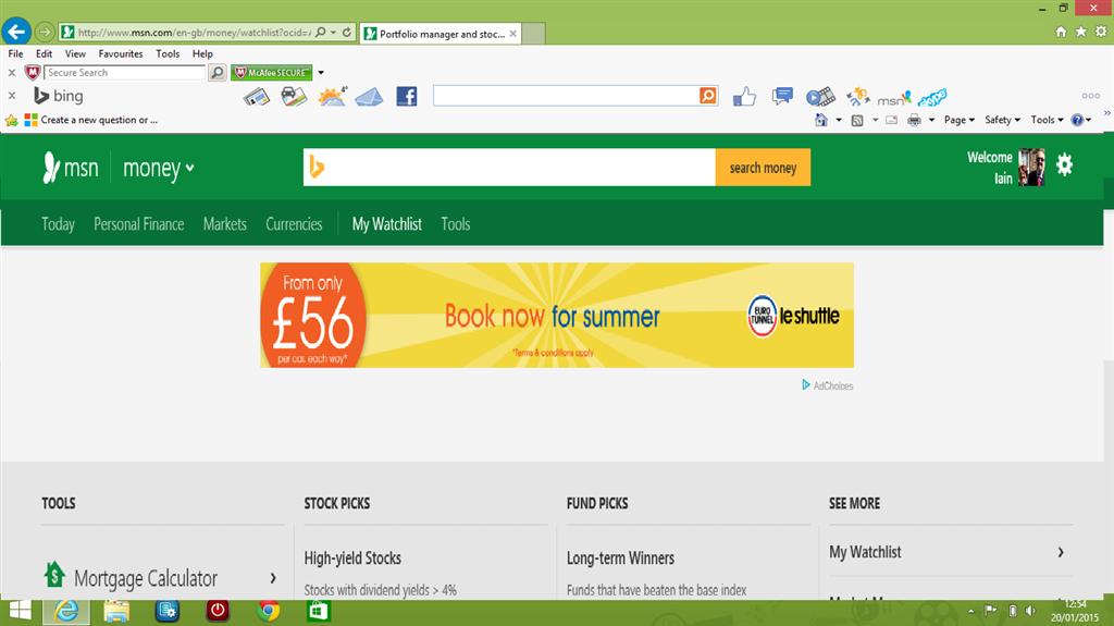 MSN Money - my watchlist blank - Microsoft Community