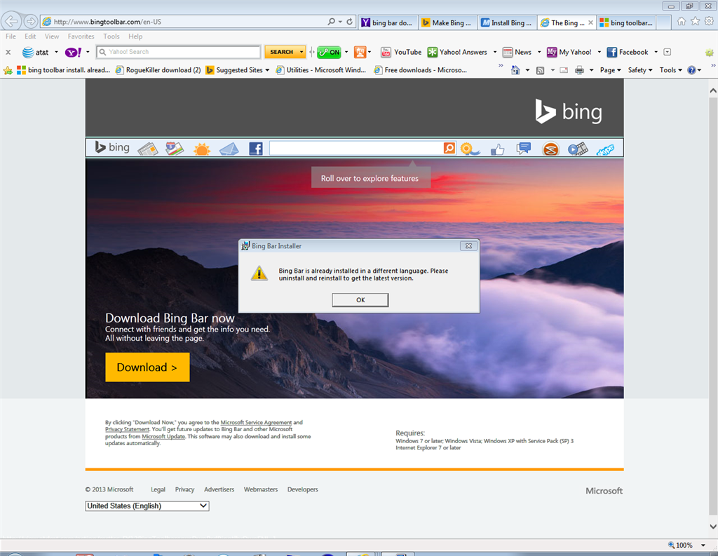 "Bing Toolbar Install. ""already Installed In A Different"