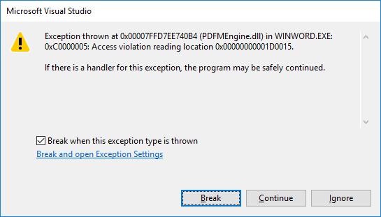 Microsoft Word 2016 crash --- Alkalamzás crashdump van