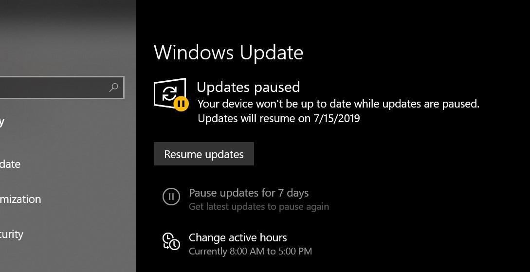 Windows 10 Home 1903 Does Not Have An Unpause Update Button Microsoft Community