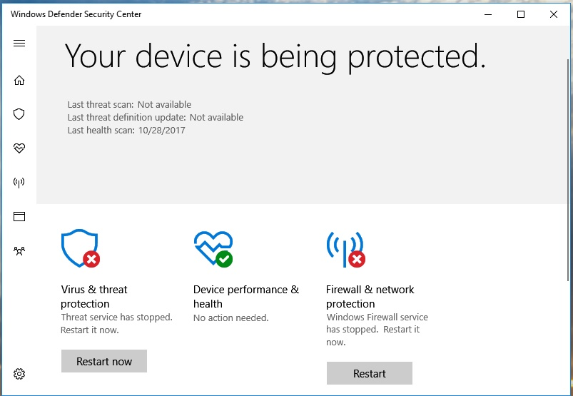 Virus & Threat Protection stopped and Windows Firewall is