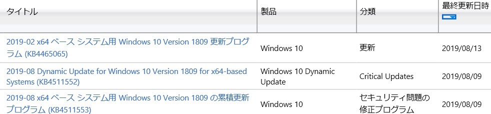 update カタログ ダウンロード できない