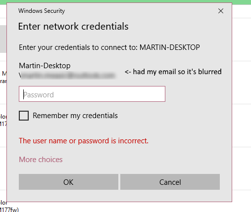 Pushd the specified network password is not correct