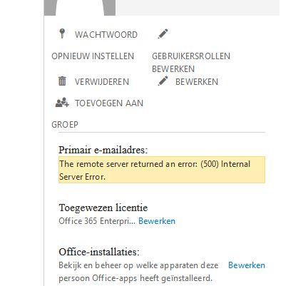 the remote server returned an error (500) internal server