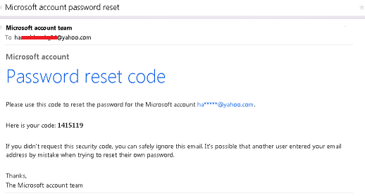 microsoft account password reset email