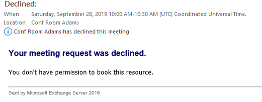Taking A Meeting Room Temporarily Out Of Service Microsoft Community