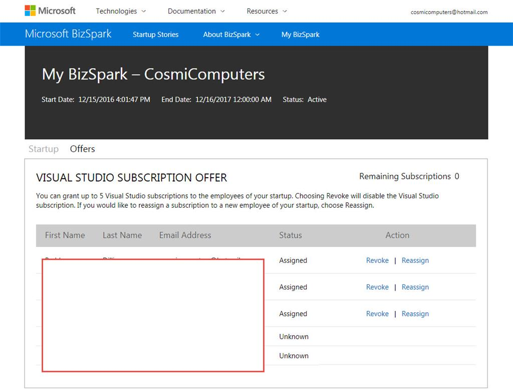 Bizspark subscription assigned status from processing to image 1betcityfo Choice Image