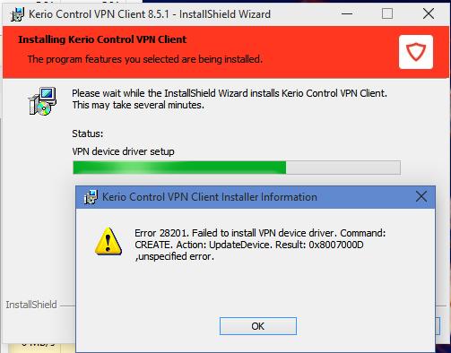 Kerio vpn client service not running