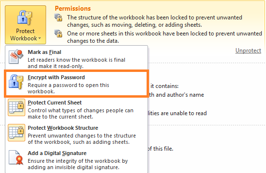 encrypt the workbook with password