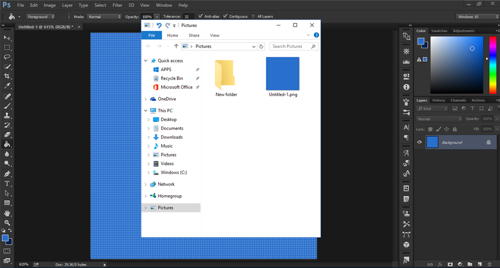 74c87f75 ... it opens a new window where the picture was saved, and it also pins  that folder to the navigation pane in File Explorer for some reason.