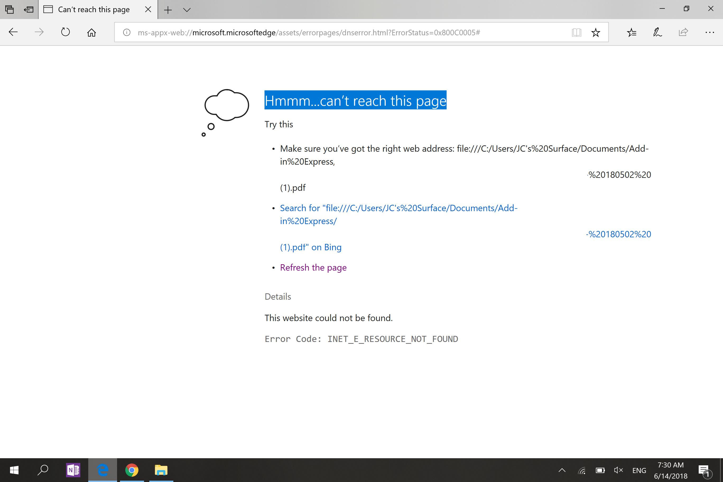 Microsoft Edge shows