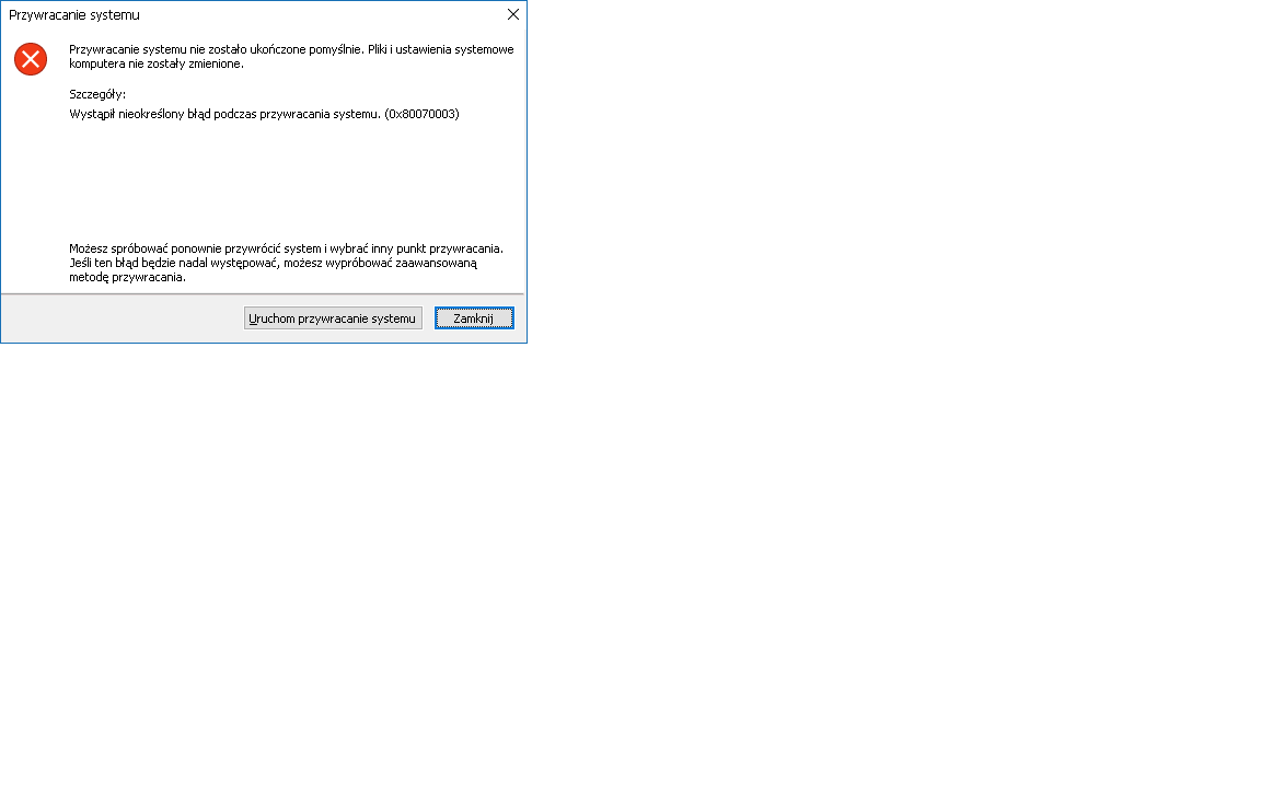 System restore (restore point) does not work error 0x80070003