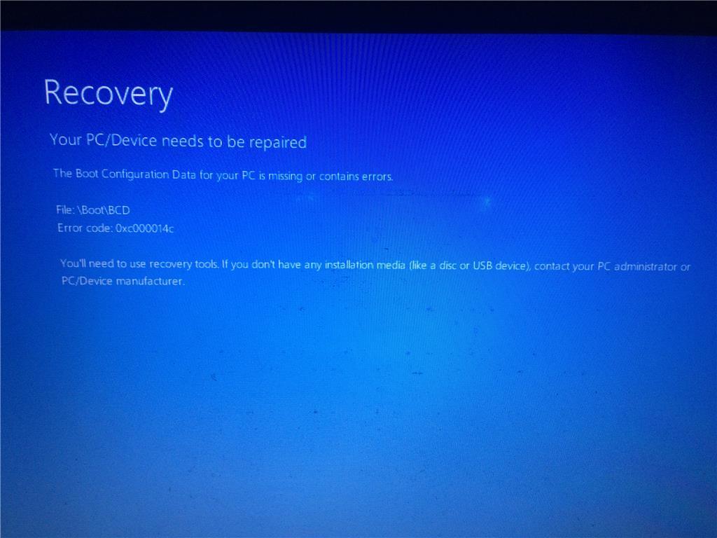 BCD ERROR File: \Boot\BCD Error code: 0xc000014c - Microsoft