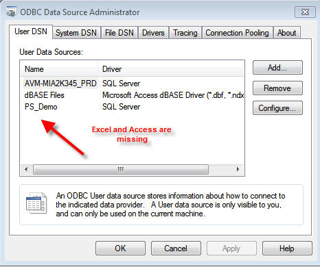 Microsoft Excel and Access is missing in ODBC Data Source