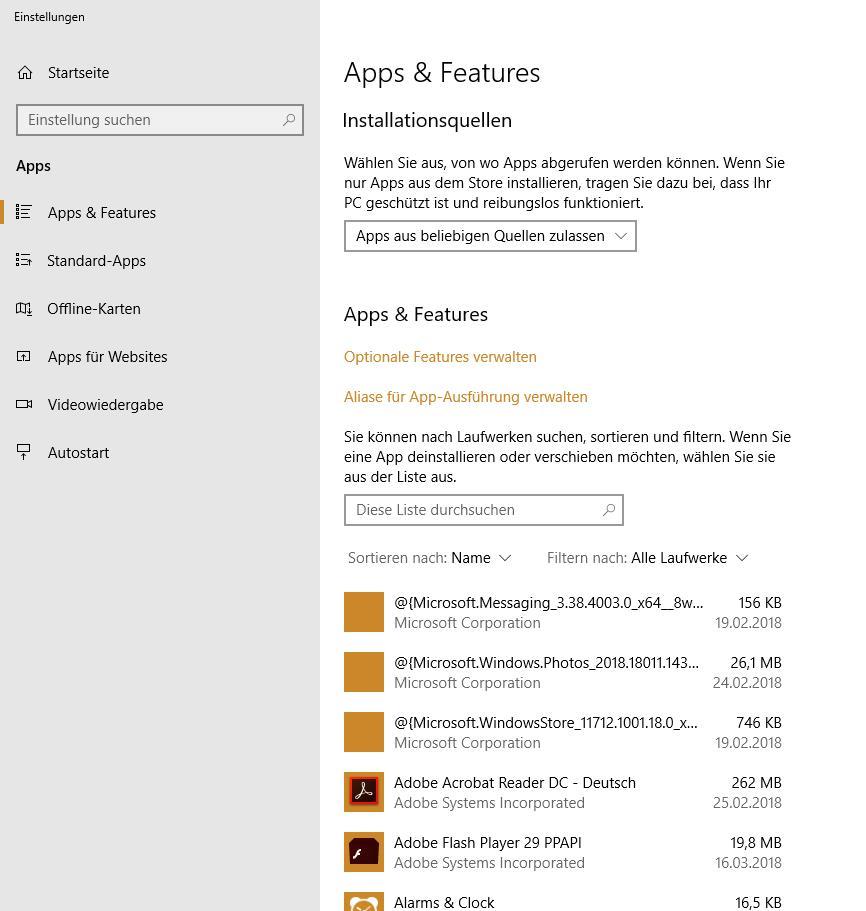 Microsoft Store und Foto App's sind nach einem Update nicht mehr verfügbar