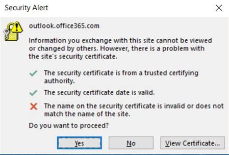outlook.office365.com. Problem with site certificate the name on the ...