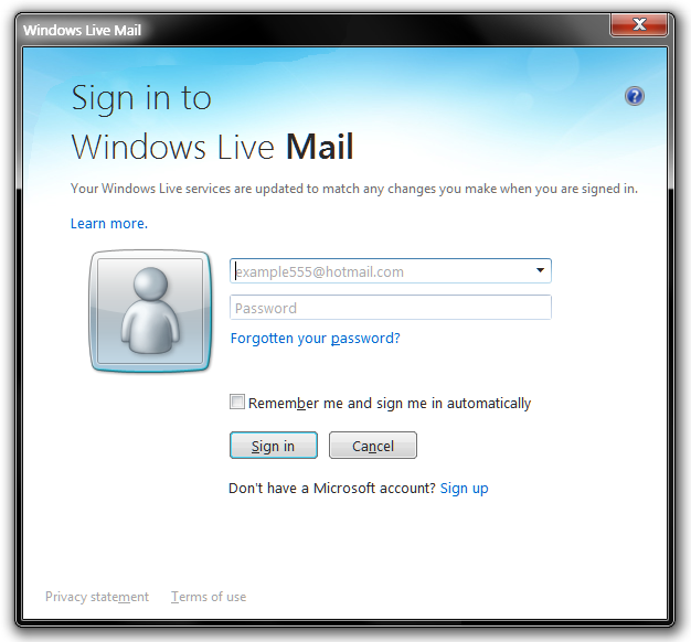 find my windows live mail password