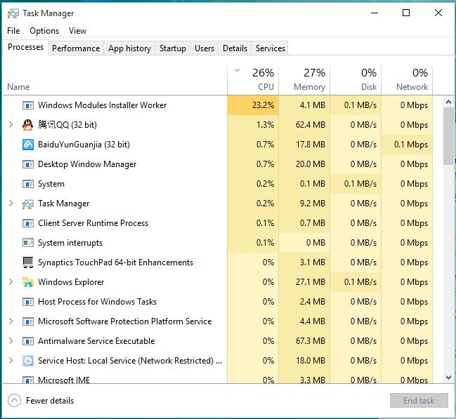 windows module installer cpu usage
