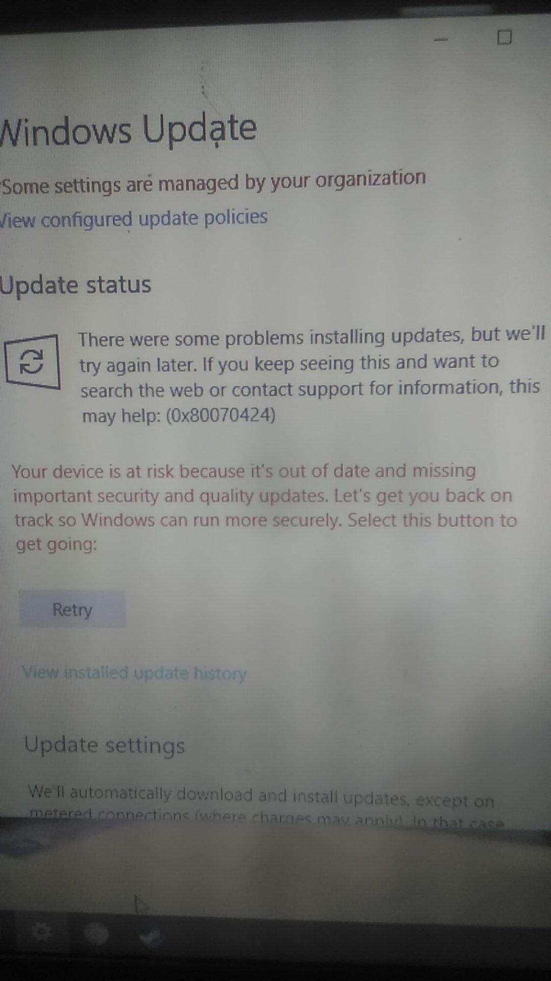 Windows update error 0x80070424 - Microsoft Community